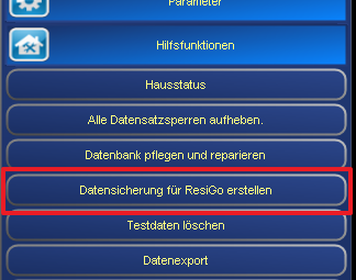 Datensicherung in der Hotelsoftware ResiGo.