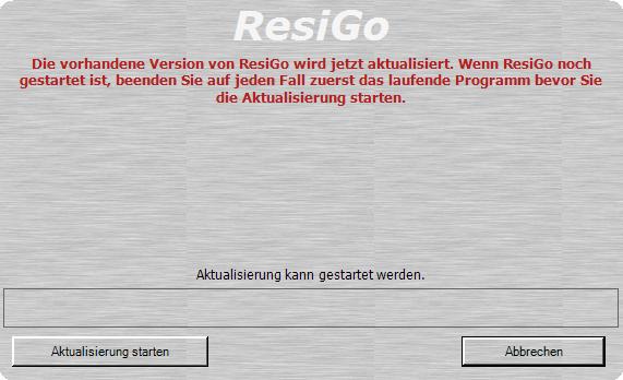 Starten Sie aus dieser Maske das Upgrade Kassensoftware ResiGo