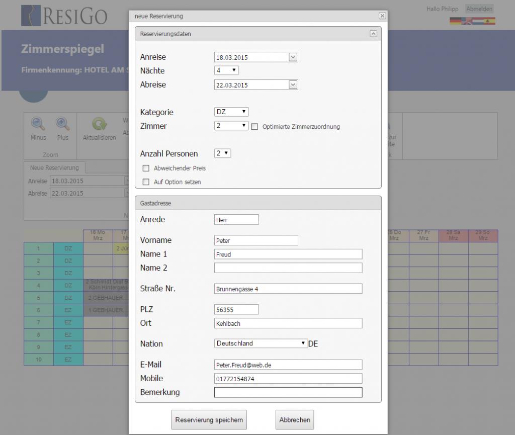 Detaillierte Gastinformationen mit ResiGo Air