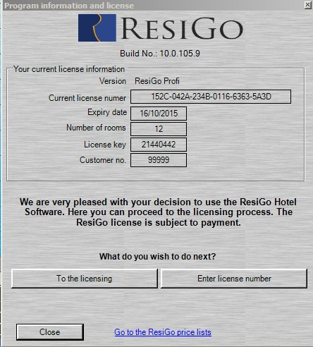 Licensing window hotel software ResiGo
